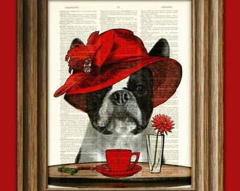 """Boston Terrier Art Print Dog with fancy hat """"Boston Tea Party"""" Dictionary Page art print"""