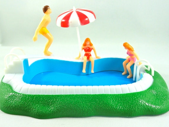 Swimming Pool With Girls Cake Topper Decoration Set