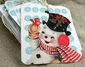 Vintage snowman Christmas tags Lt blue and red