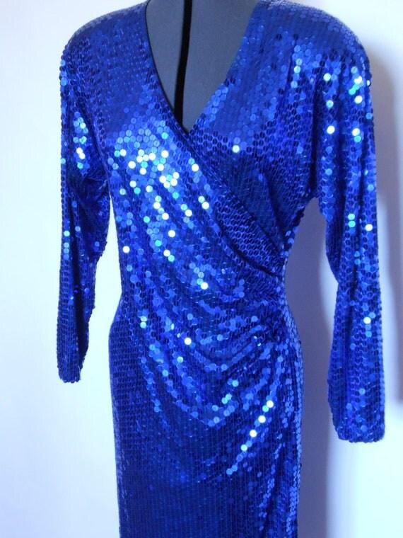Vintage 80s Oleg Cassini Blue Sequined Dress Size 8