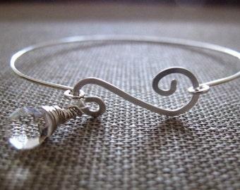 Swarovski Crystal Charm Bangle Bracelet / Elegant Sterling Silver Bracelet with wire wrapped Clasp / Elegant Crystal Charm Bracelet