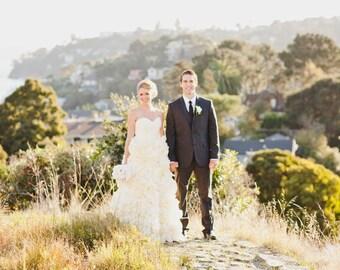 Floral Style Ruffled Wedding Dress