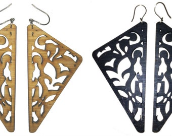 Tribal Bamboo Triangle Earrings-Very Light KSE12012
