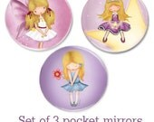 Pocket mirrors , glass,  compact purse mirrors , art, for women or girls , Set of 3 , party favors, bridal shower gifts