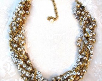 Chunky Gold and Rhinestone Pearl Wedding Necklace Statement Necklace Bridal Necklace Twisted Gold Chains - Life of the Party in Gold