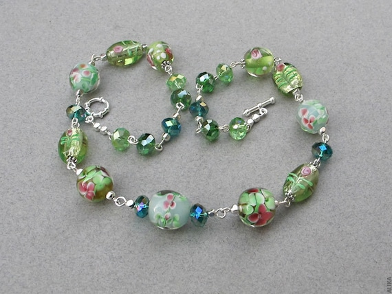 Green Lampwork Necklace  with silver details