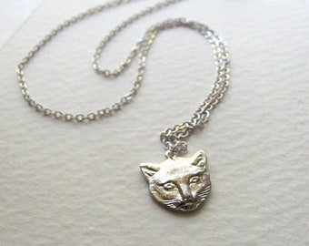 ON SALE: Cat pendant necklace, sterling silver plated kitty cat charm on delicate sterling plate chain