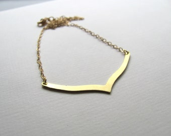 Chevron pendant bib necklace on 14k gold plate chain, gold bar necklace,  geometric jewelry