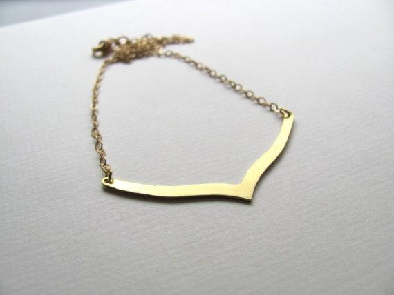 Chevron pendant bib necklace on 14k gold plate chain, gold bar necklace,  geometric jewelry