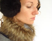 Black earmuffs, faux fur, winter accessory, Christmas gift