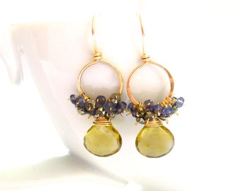 Whiskey Quartz Earrings on 14k Gold Fill Hoops with Wire Wrapped Iolite and Pyrite, Handmade Jewelry by Sonja Blume