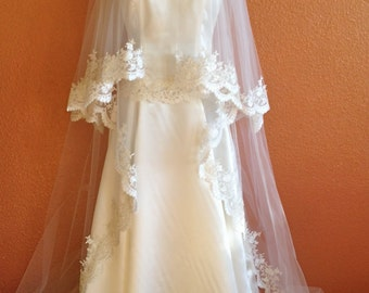 Cathedral Lace Veil in two tier with lace edge in classic look with blusher two layered cathedral wedding veil with beads on the edge