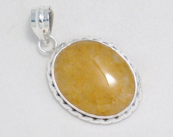 Silver gemstone pendant yellow quartz 925 sterling silver sunshine cabochon stone w/ roped setting & nice sized bale for omega collar