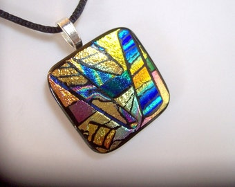 Fused Dichroic Glass Pendant, Doodlebug, Fused Jewelry, Dichroic Jewelry, Vivid Colors