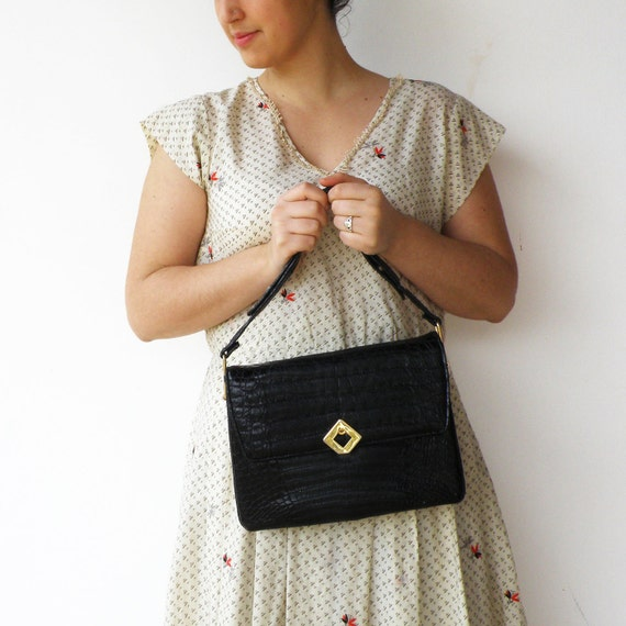 Vintage Black Leather Handbag / 50s Crocodile Leather Bag