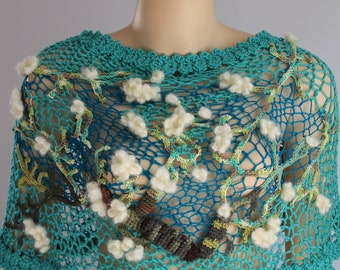 Almond Blossom - Unique Crochet Shawl, Wedding shawl, wrap, cape - Wearable Fiber Art - OOAK