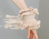 Beige detachable pleated cuffs/Wrist ruffle/Hand made accessories/Couture designer cuffs/Ruffled Fashion/wrist cuff/Fabric bracelet/rusteam