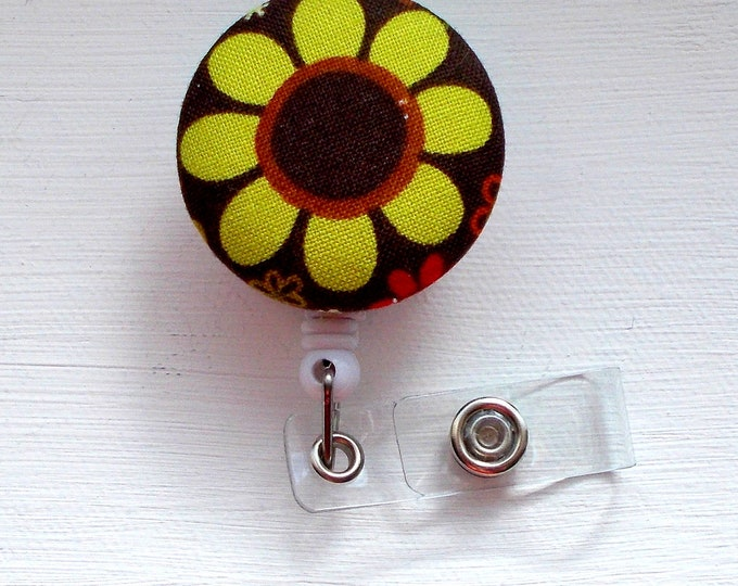 Brown and Green Daisy Flower - Name Badge Holder - Cute Badge Reels - Flower Badge Clip - RN badge - Unique Retractable ID Badge Holder