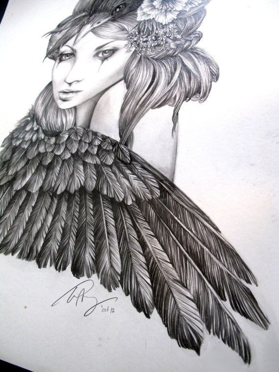 Lavender illustration crow bird raven wing black and for Raven bird tattoo
