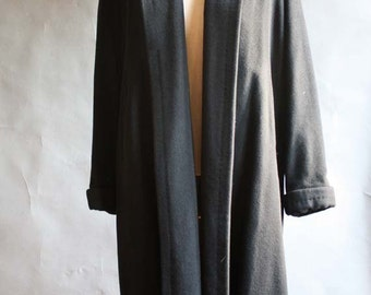 Vintage 1950's Black Wool Swing Coat