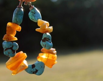 Chunky Yellow Teal Gemstone Bracelet Summer Fashion Jewelry Amber Blue Turquoise Rough Rock Freeform Toggle African Statement Piece OOAK