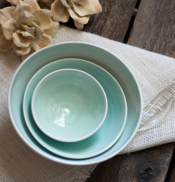 Serving Bowl Nesting Bowl Set Porcelain Aqua and White
