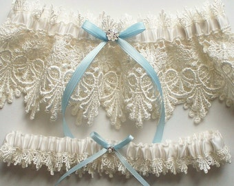 Lace Garter, Wedding Garter Set with Blue Satin Ribbon Bow and Swarovski Crystal Centering   - The ALICIA Garter Set