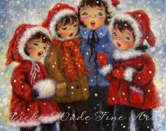 Four Christmas Carolers Art Print four sisters paintings four girls singing, red capes, Vickie Wade Christmas art
