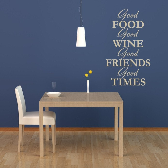 Wall Decal Wine Vino Food Friends Quote Phrase By
