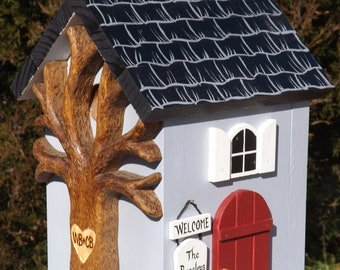 Birdhouse Cottage Personalized with Heart Carved Tree
