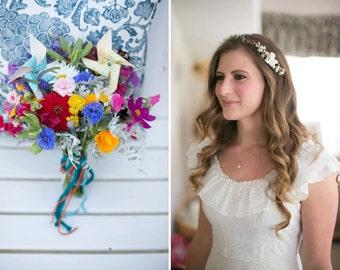 bridal hair flower, wedding accessories, bridal headband, flower crown