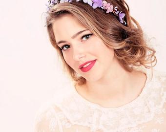 Bridal flower crown, Purple flower, woodland wedding, wedding hair accessory