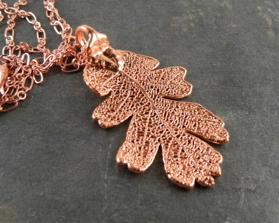 18 inch Necklace with Bright Copper Dipped Oak Leaf Pendant
