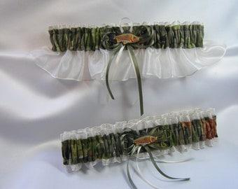FISHING CAMOUFLAGE wedding garters Fish Camo garter Ivory