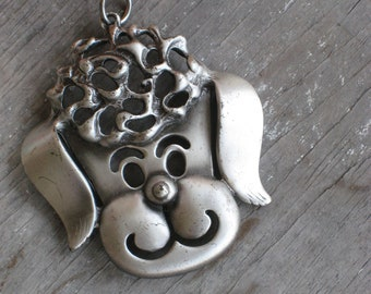 Vintage 1970s Poodle Necklace Pendant in Pewter (4029-W)