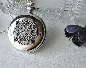 Pocket Watch Locket Necklace Set Silver Art Nouveau Filigree Victorian Pendant Winter Wedding Christmas Holiday SALE Free Velvet Gift Box
