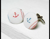 Anchor Fabric Covered Cufflinks