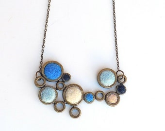 Blue White Circle Winter Necklace