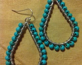 Natural turquoise wire wrapped beaded tear drop hoops