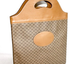 GUCCI Vintage Handbag Tan Leather Large Monogrammed Foldable Clutch Tote - AUTHENTIC -