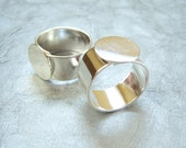 Sterling Silver plated  ring base pad 13mm setting by Nunn Design, lot of (1) - BT225
