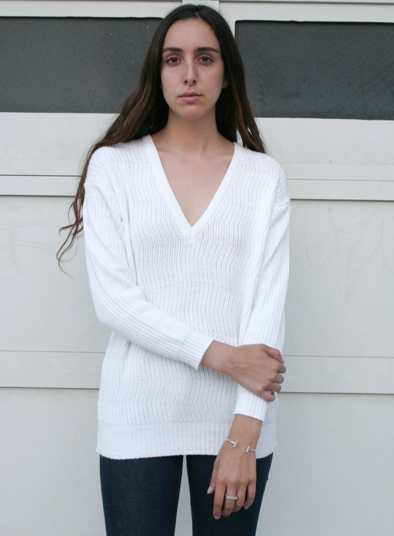 Vintage 1980's White Zig Zag Knit Esprit Deep V Cotton Sweater S/M