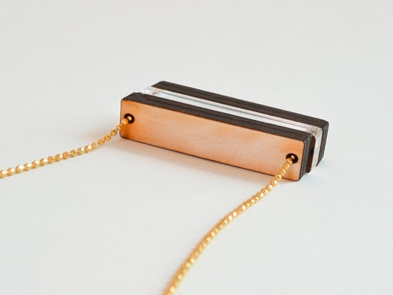 Wood Bar Necklace - Laser cut Beads - Wood Jewelry - A Little Country in the City Fashion