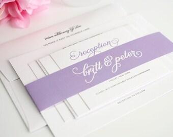 Purple Wedding Invitation, Whimsical Wedding Invitation - Classic Whimsy Wedding Invitation - Sample Set
