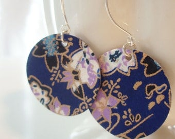 Royal Blue Floral Origami Small Earrings