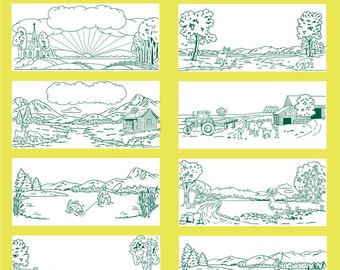35 Scenic Views Vector Clipart
