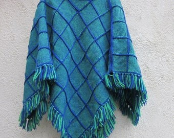 1960s Hand Woven Poncho / Cape - blue & green