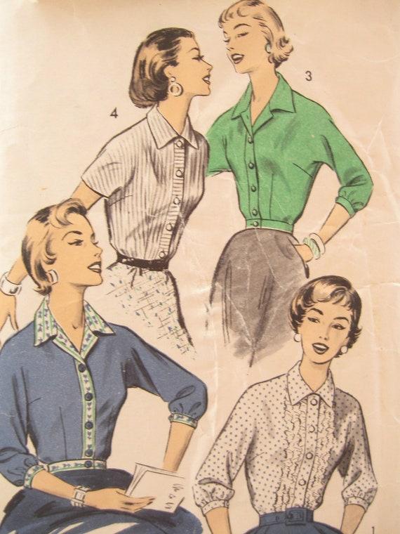 1950s Kimono Sleeve Blouse Vintage Sewing Pattern: Advance 8053 Bust 38