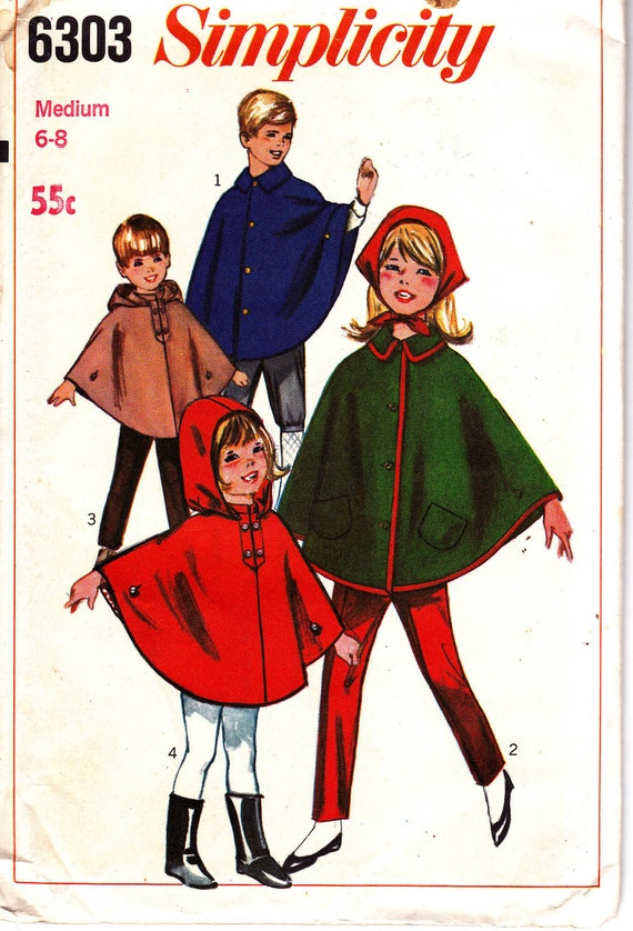 60s Vintage Childrens Cape Pattern Simplicity 6303 Size Medium 6 7 8 UNCUT FF