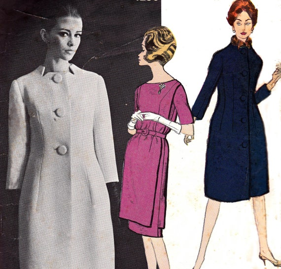 RESERVED for GILLIAN 60s Vogue Paris Original Sewing Pattern 1250 Dress & Coat by Jean Desses Size 12 Bust 32